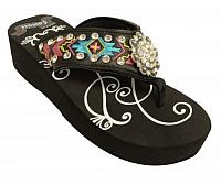 FF11  Ladies western flip flops with Southwest embroidery with iridescent crystal rhinstone rosette concho and studs.