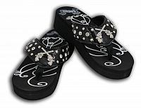 R0088 Ladies western bling flip flops with crystal inlay crossed guns conchos