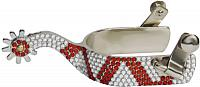 SP519501X Ladies size bling rhinestone spurs-red/clear