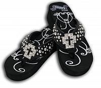 SS07-1 Ladies western  bling flip flops with crystal cross concho.