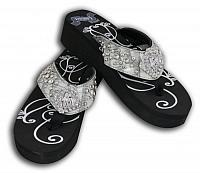 SS07-1 Ladies western bling flip flops with barrel racer concho