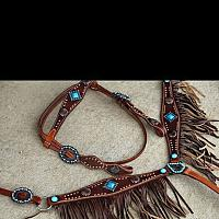 12917 Medium leather headstall and breast collar with textured leather overlay with leather fringe and antique conchos
