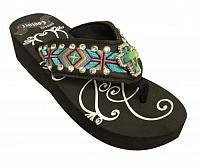 FF08  Ladies western flip flops with Southwest embroidery with iridescent crystal rhinstone cross concho.