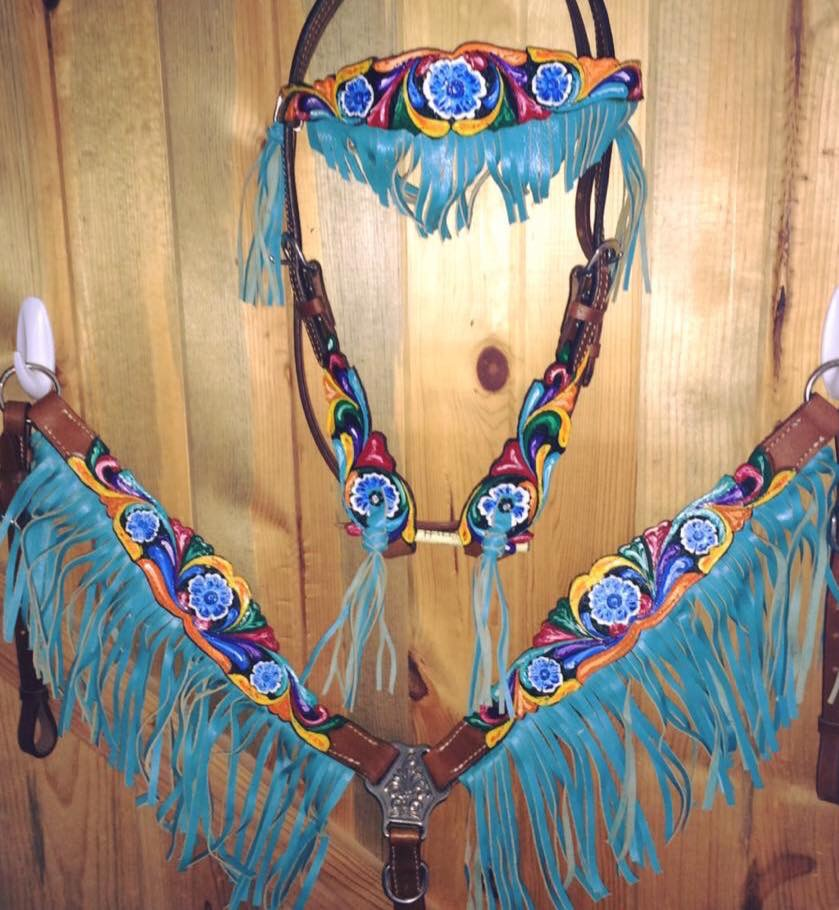 13042 Headstall and breast collar set with teal fringe and hand painted floral tooling