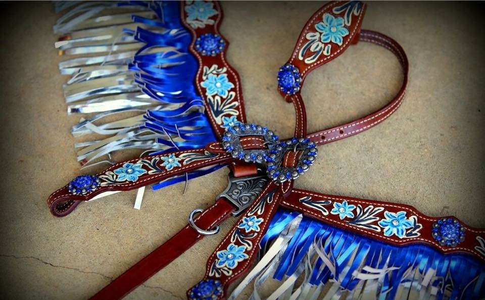 13072 Metallic fringe headstall and breast collar set