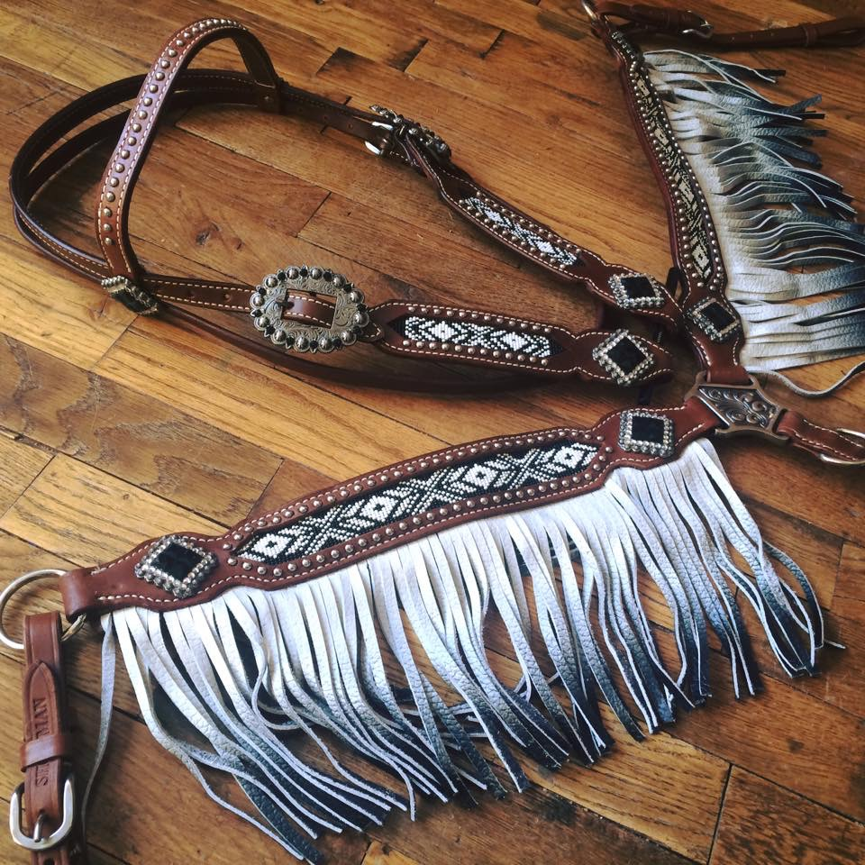 13528 Black and white beaded headstall and breast collar with ombre fringe