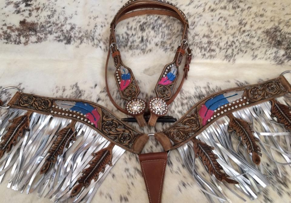5017 Metallic painted headstall and fringe breast collar set