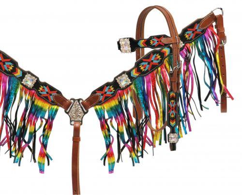 30116 Navajo Embrodiered rainbow fringe set