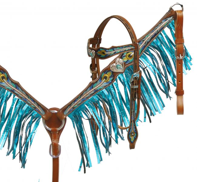 4990 metallic peacock feather fringe set