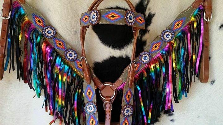 41606E Rainbow embrodied fringe tack set