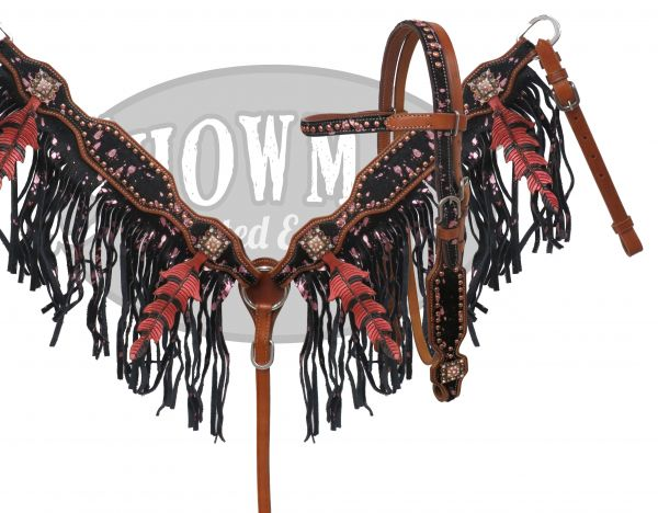 41623E pink metallic oak leaf fringe set