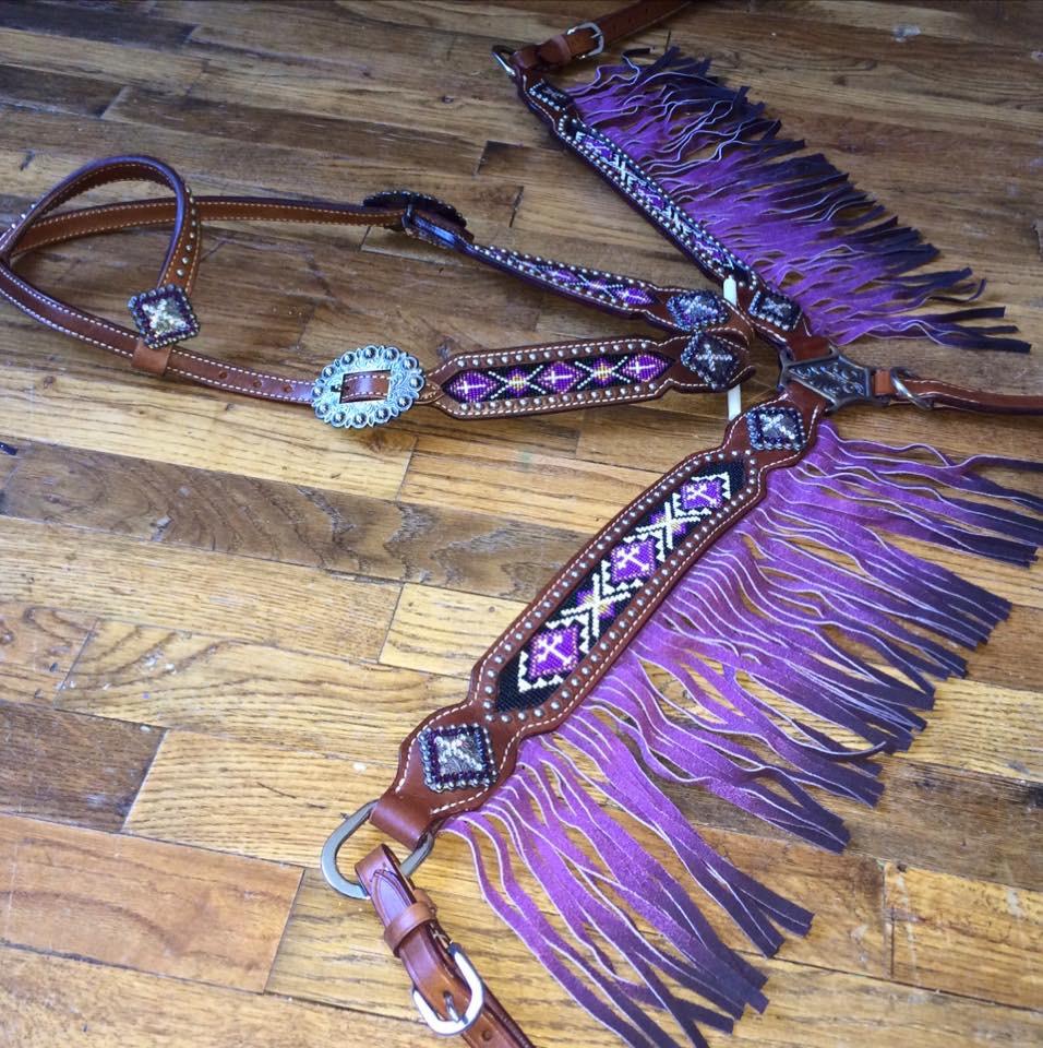 13076 Purple ombré beaded fringe tack set