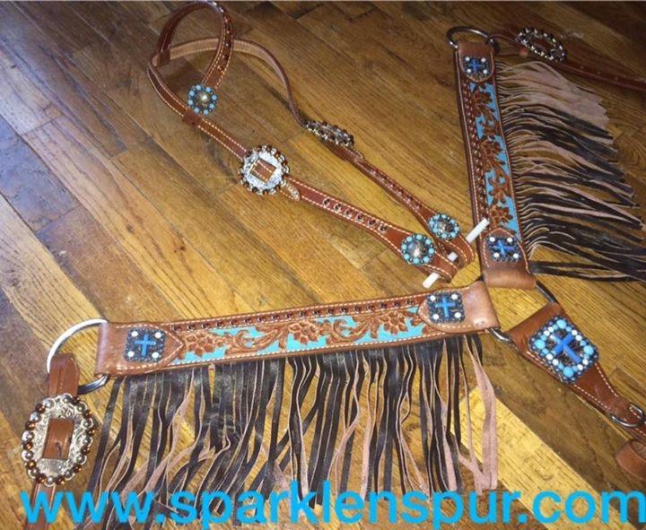 12911 Turquiose cross concho leather fringe set