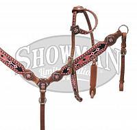 10347E Pink/Black cross tack set