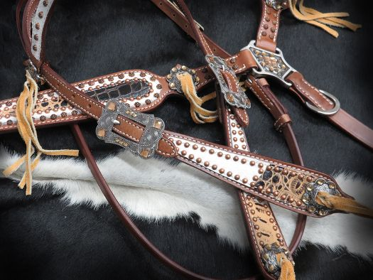 10350E Alligator Print Headstall and Breastcollar set
