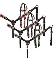 13563P PONY wrap embroidered headstall and breast collar set.