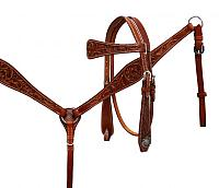 13530 medium oil tooled leather tack set