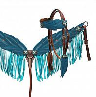 1700 Blue angel wings fringe tack set