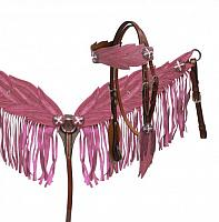 1701 Light pink angel wing headstall and breast collar set. This set features medium oil leather with painted, tooled angel wing design on breast collar