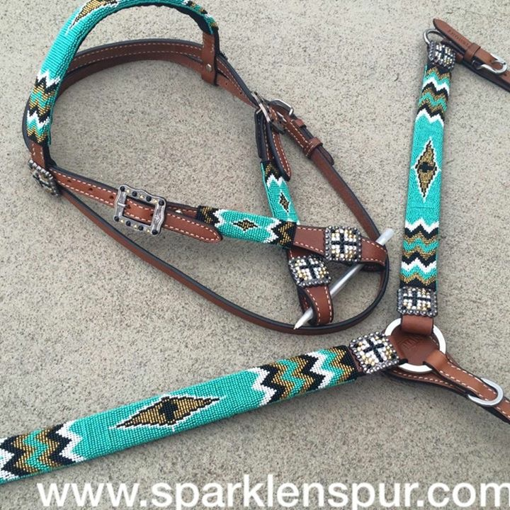 13721 teal gold and black cross design beaded tack set