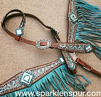 10364E teal brown bejeweled limited edition fringe set