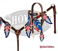 10333E red white and blue feather set