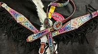 10363E Cheetah multi colored fringe tack set