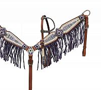 13730 Purple Aztec fringe tack set
