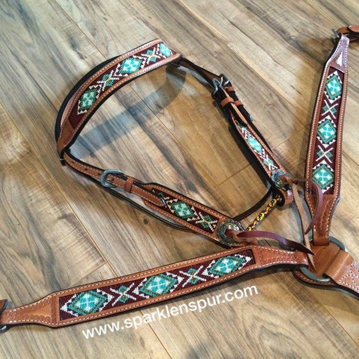 13744 turq and maroon beaded leather tack set