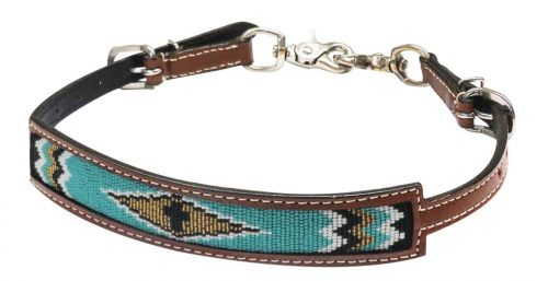10314 teal black gold beaded wither strap