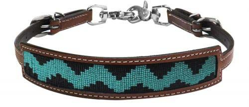 19315 black/teal beaded wither strap