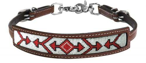 Red white beaded arrow wither strap
