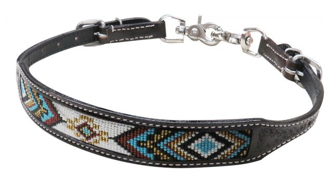 19319 dark chocolate beaded wither strap