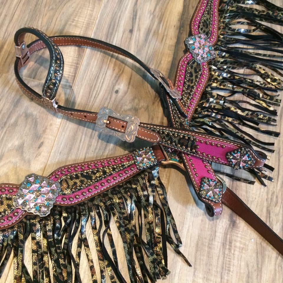 13731 Pink Cheetah fringe tack set
