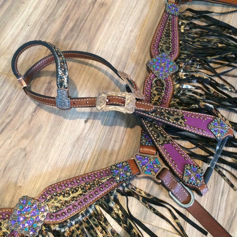 13731 Purple Cheetah fringe tack set