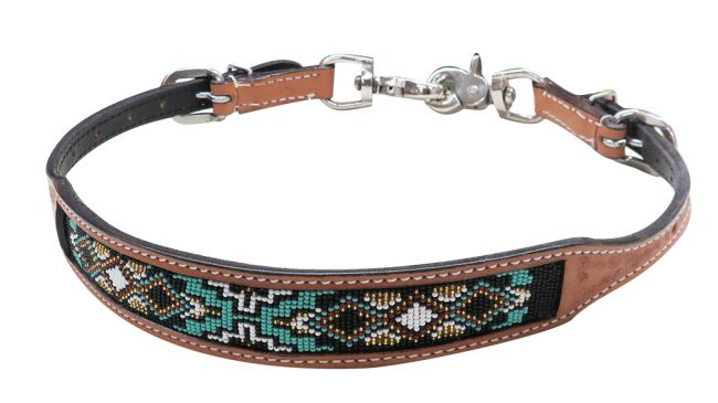 19320 turq black gold beaded wither strap
