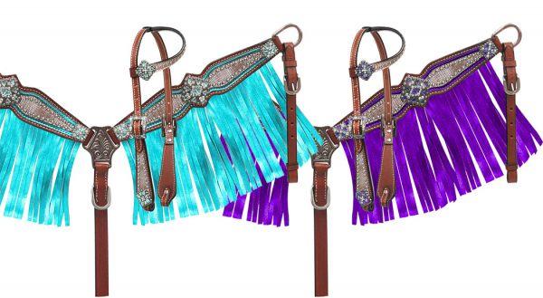 13787 teal or purple metallic fringe tack set