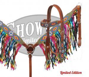 41606E limited edition rainbow fringe tack set