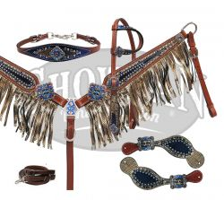 10370E Royal blue gold fringe 5 piece tack set